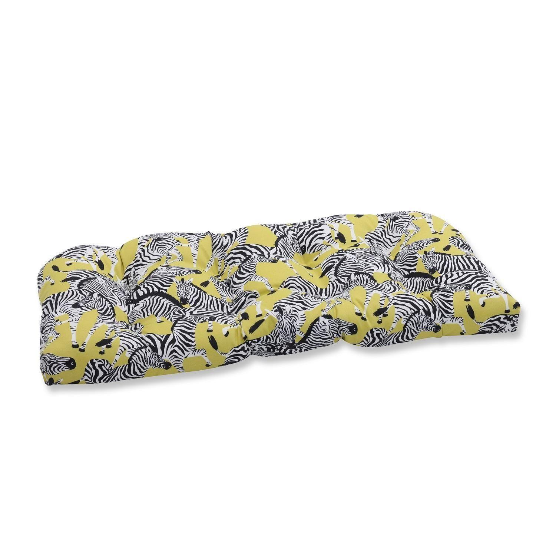 "44"" Zealous Zebras On Yellow Loveseat Cushion, Black, Outdoor Cushion"