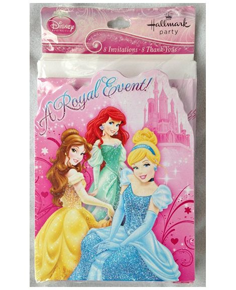 Disney Princess 8 Party Invitations /& 8 Thank You Cards Combo Pack