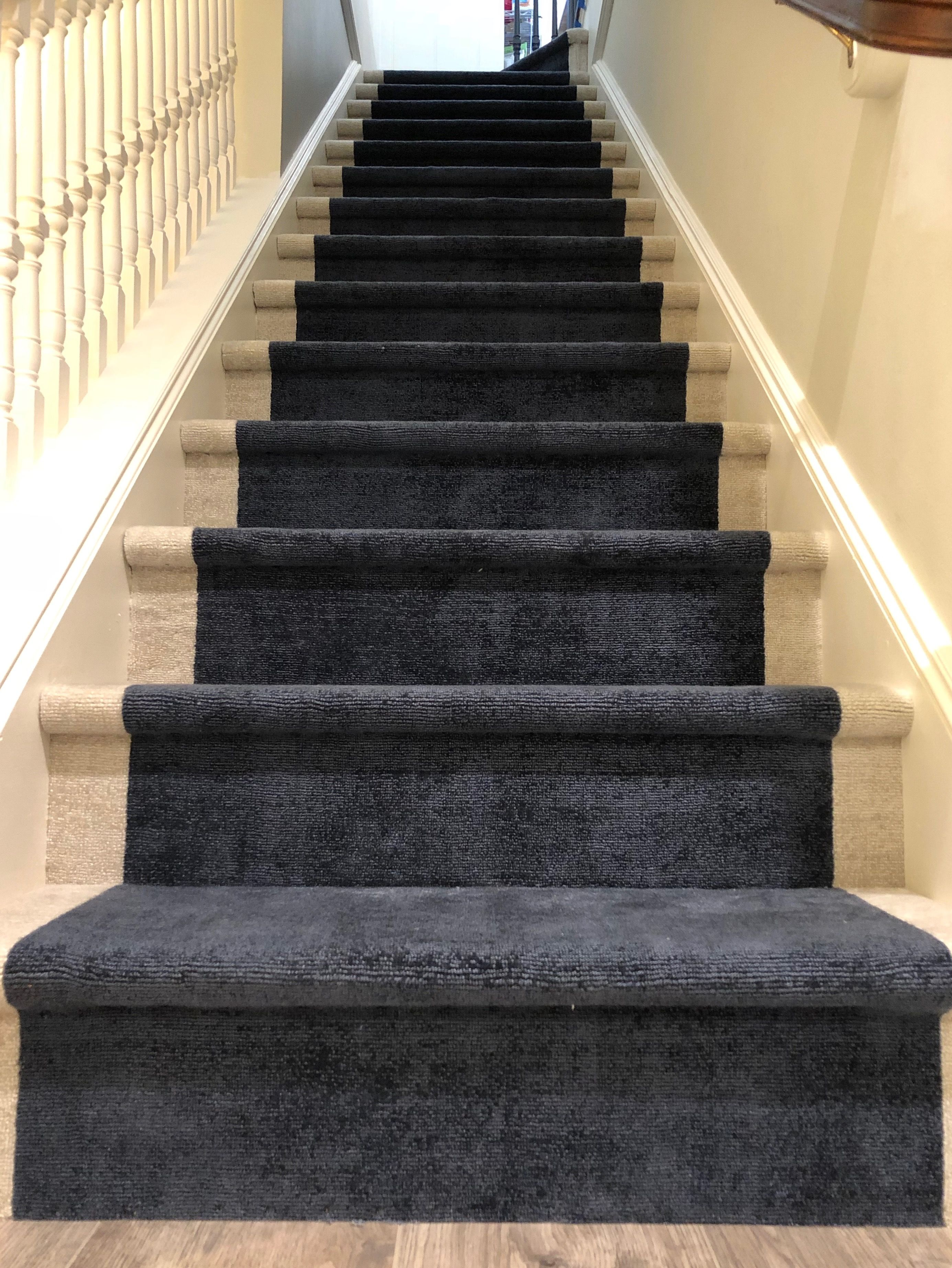 Our Beautiful Custom Stair Runner Installation Made Out Of Two Broadloom Carpets By Rosecore Stair Runner Installation Stair Runner Carpet Modular Carpet Tiles