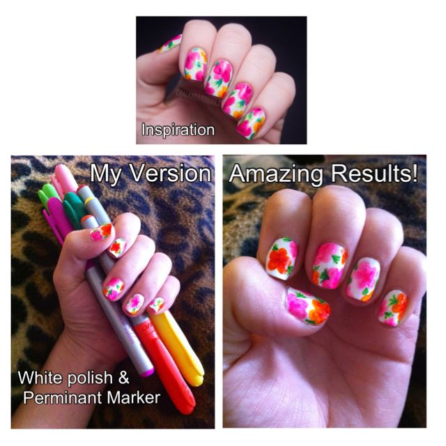 DIY Springtime Nails - using permanent marker   DIY by Teresa ...