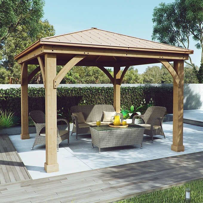 Cedar Wood 12 39 X 12 39 Gazebo With Aluminum Roof By Yardistry Backyard Pavilion Backyard Patio Patio Gazebo
