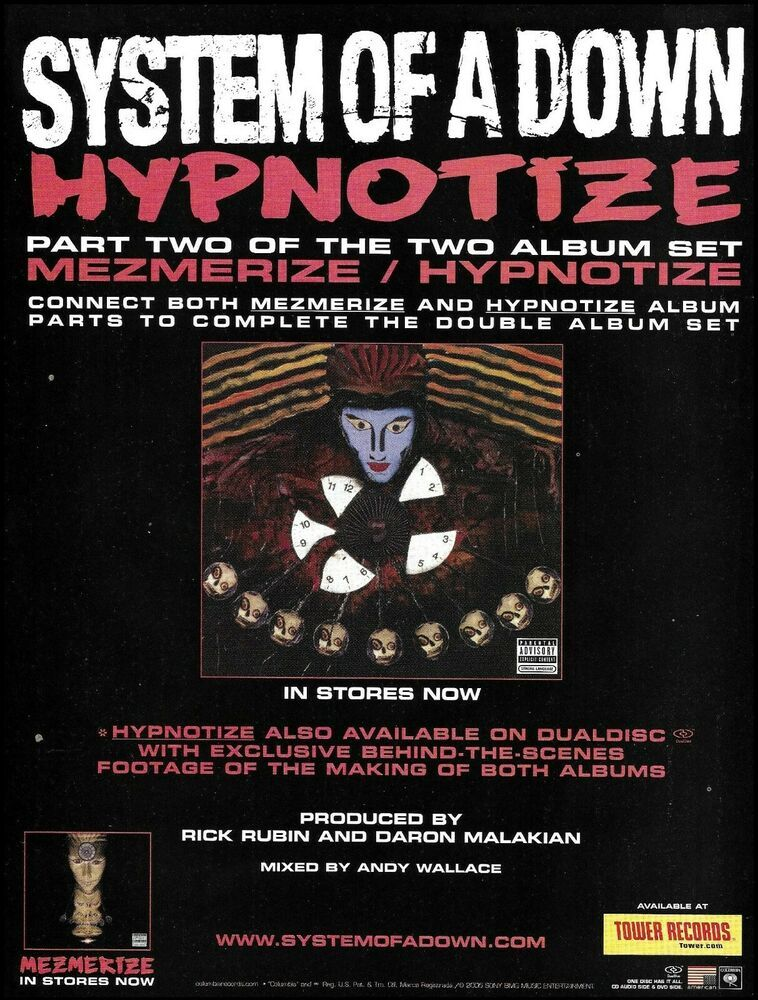 System Of A Down Hypnotize 2005 Tower Records Ad 8 X 11 Advertisement Print Ebay In 2020 Tower Records Hypnotize Album System Of A Down