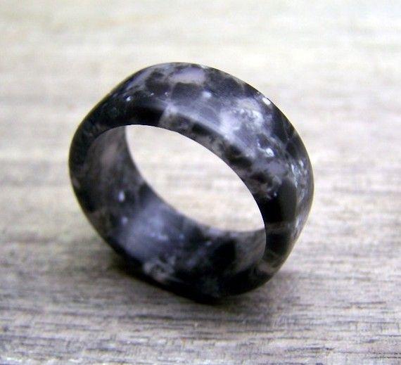 Black Marble Hard Surface Unique Wedding Ring Black