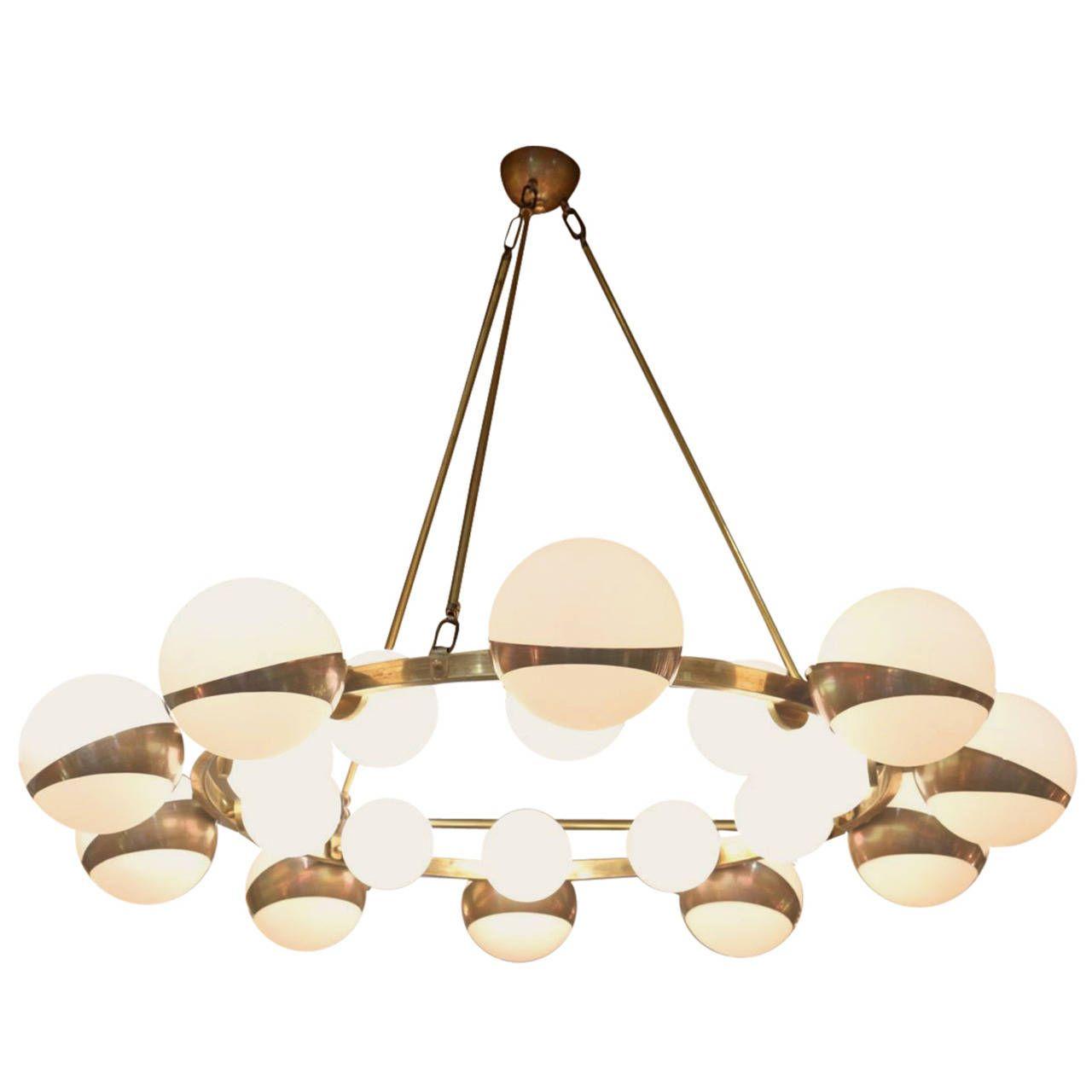 1970s hans agne jakobsson smoked globes and brass light fixture large 1950s chandelier attr to maison stilnovo aloadofball Gallery