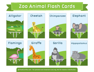 graphic regarding Zoo Animal Flash Cards Free Printable titled Zoo Animal Flash Playing cards Find out with enjoyment Flashcards for
