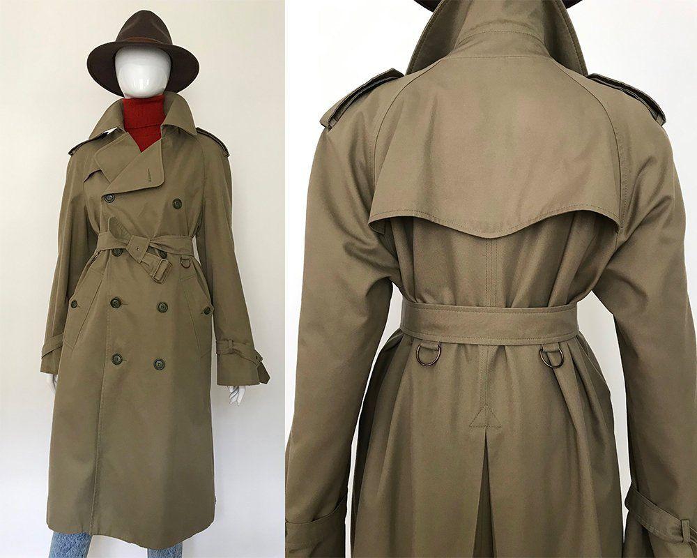 Vintage 70/'s 80/'s designer A line khaki trench coat