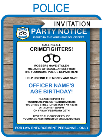 Police Party Ideas Calling All Crimefighters Printable Invitation Via Simonemadeit