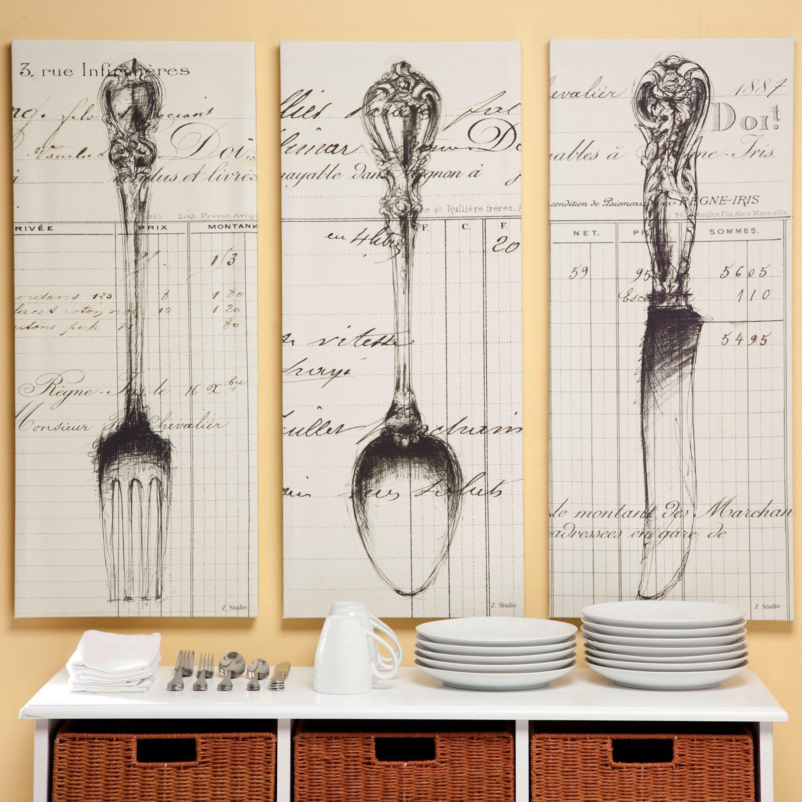 Spoon Knife Fork Document Canvas Print 15w X 36h In Set Of 3 Www Hayneedle Com Kitchen Art Fun Decor Kitchen Pictures