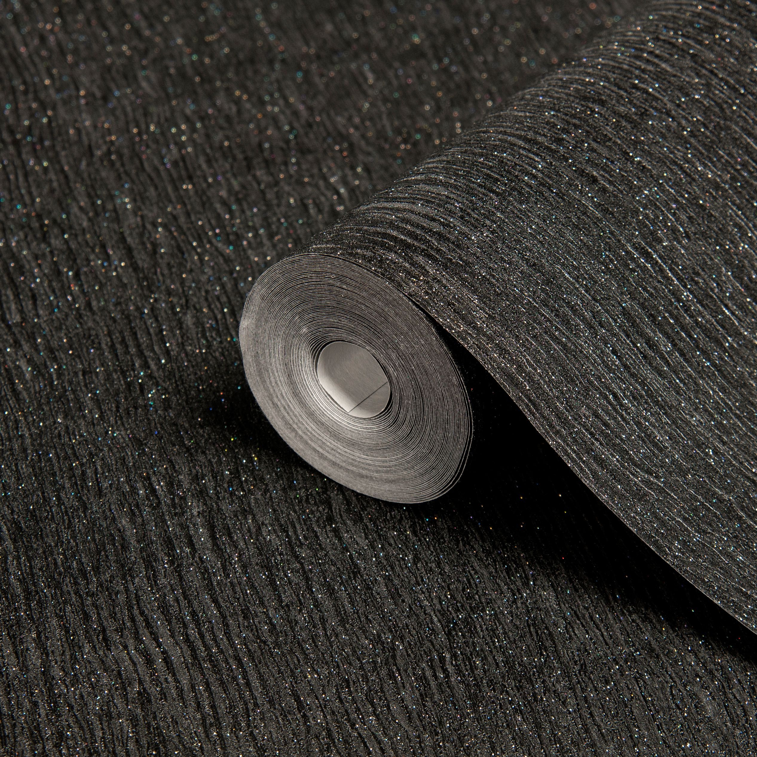 Disco Black Glitter Effect Wallpaper Departments Diy At B Q Black Glitter Wallpapers Glitter Wallpaper Diy Wallpaper