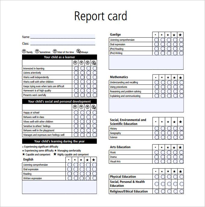 Boyfriend Report Card Template (7