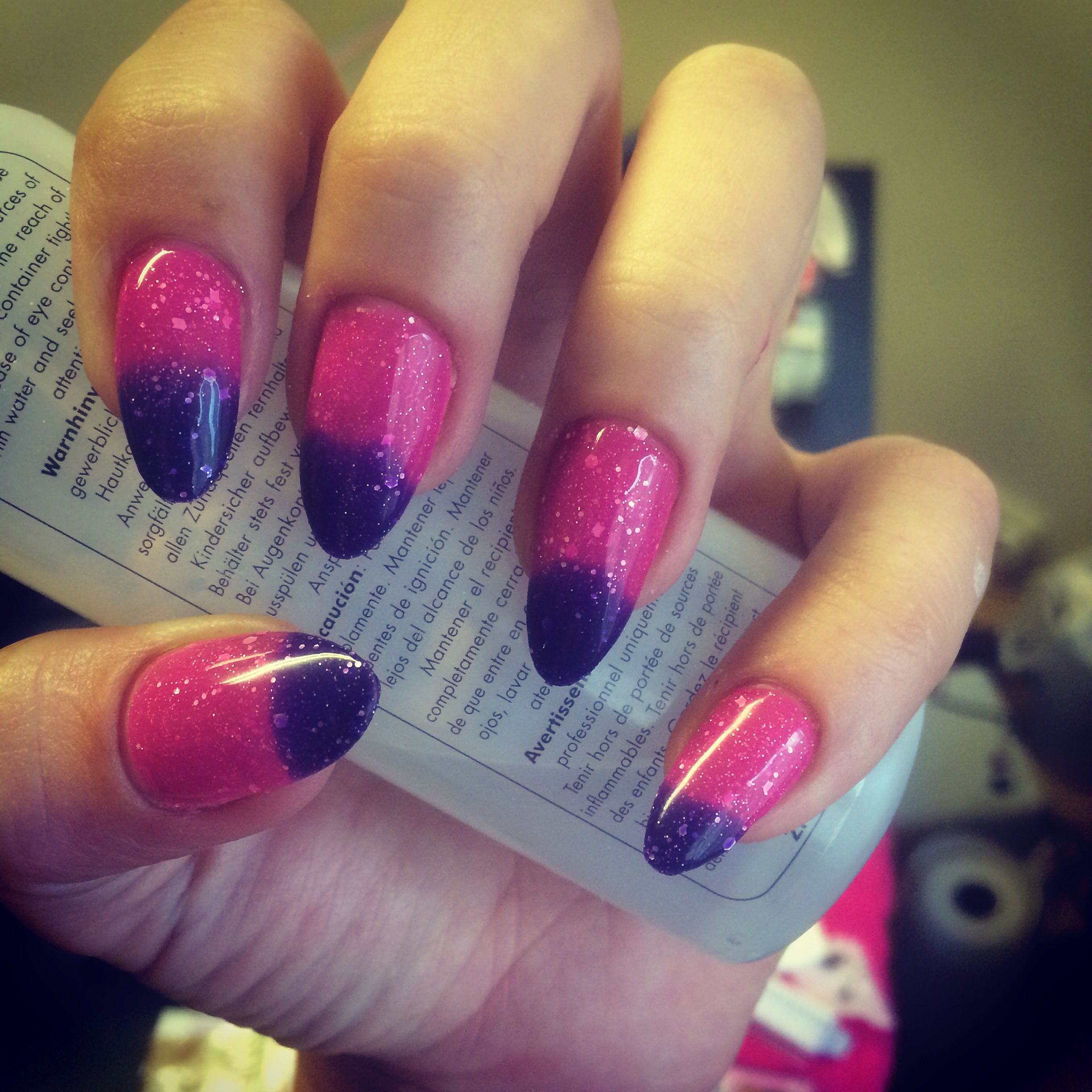 My Nails This Week Almond Acrylic Enhancements With Colour Change Glitter Gel Polish Love These Ps Shape Is Super Hard To Do On Your Own