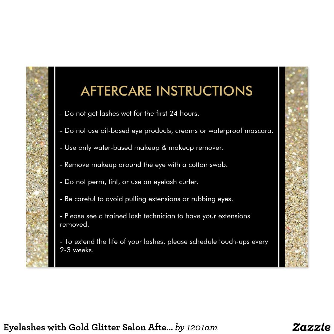 Eyelashes with Gold Glitter Salon Aftercare Card | Glitter ...