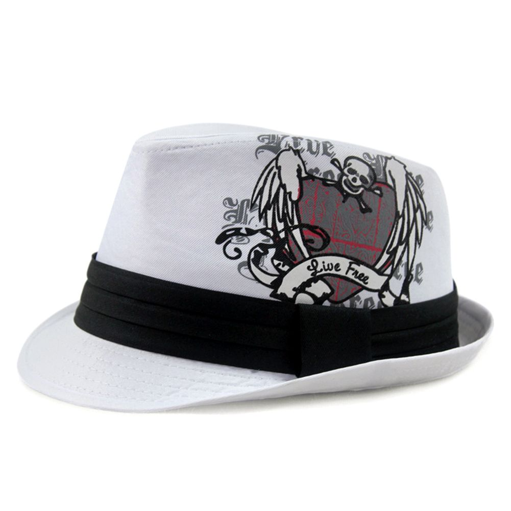 9ee07d8cb3a Discover ideas about Brim Hat. LOCOMOLIFE Men Women Skull Trilby Fedora  Short Upturn ...
