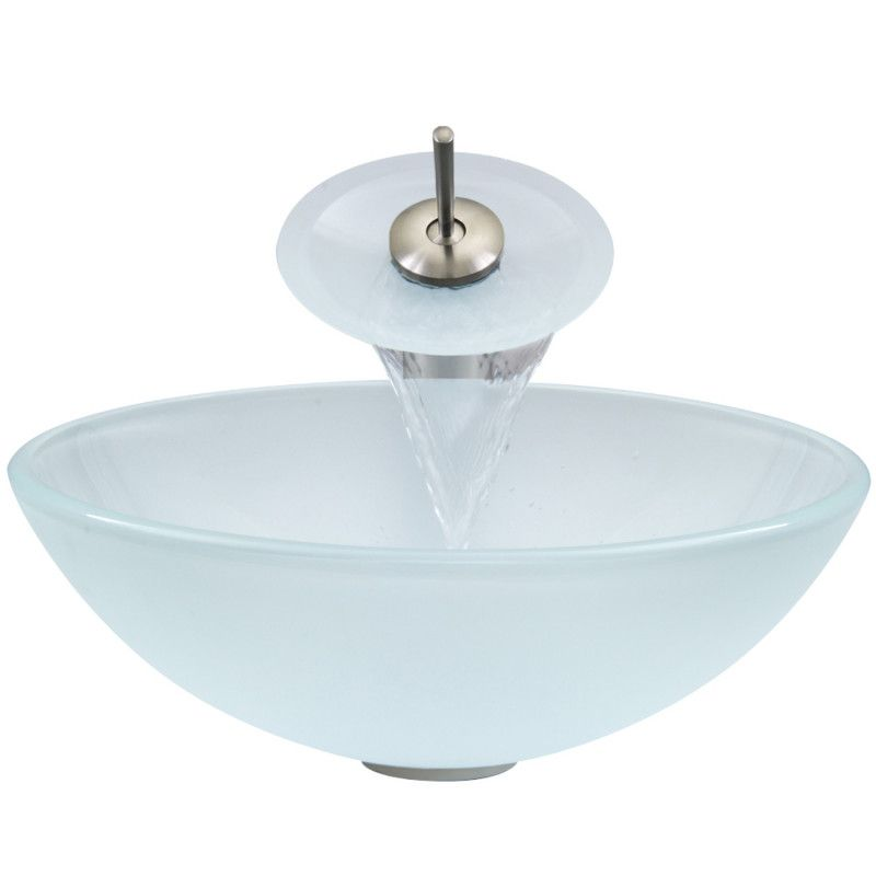 White Frost Glass Vessel Sink and Waterfall Faucet Set - Waterfall ...