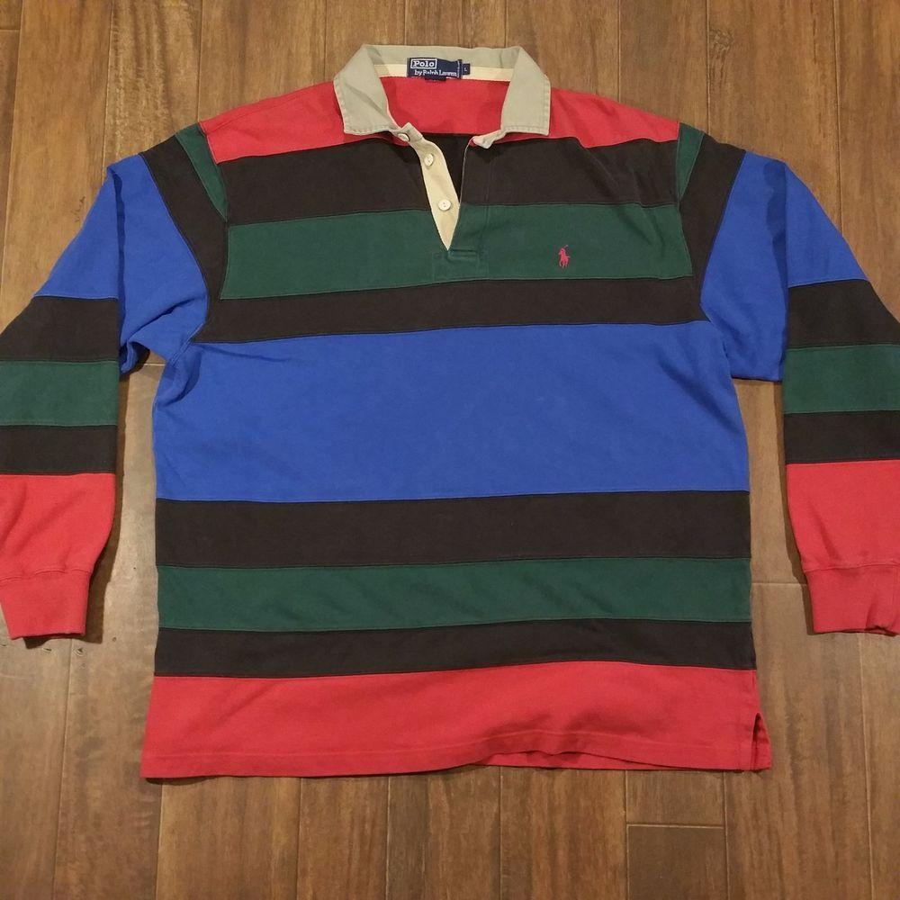 a0fbd2fc1 Vintage 90s Ralph Lauren Polo Rugby Long Sleeves Shirt Large Striped Color  Block