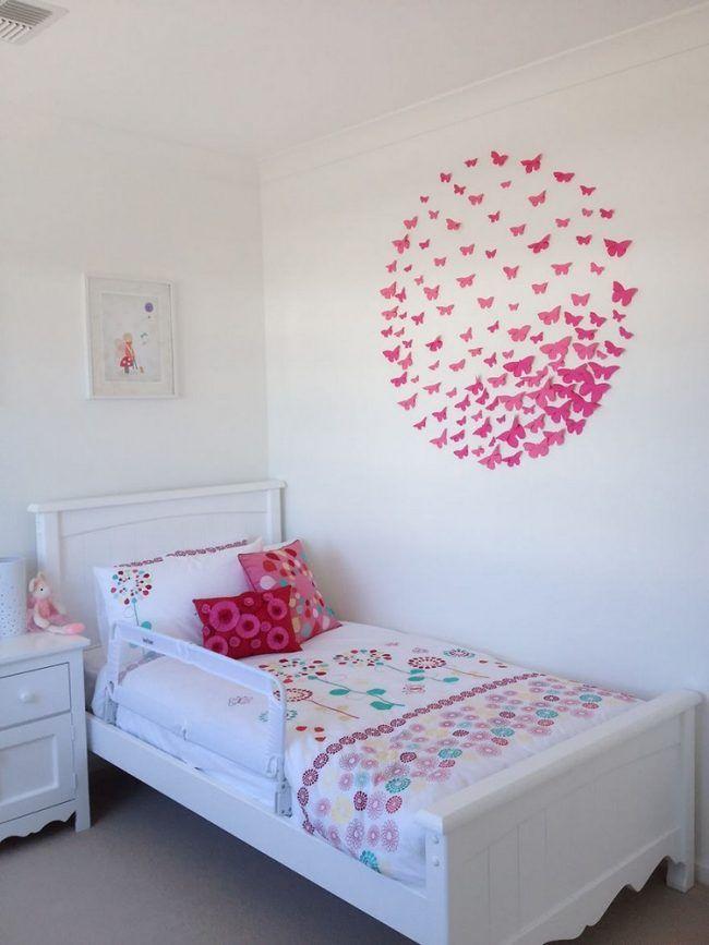 Teenager Zimmer ideen-madchen-papier-schmetterlinge-rosa-wanddeko ...