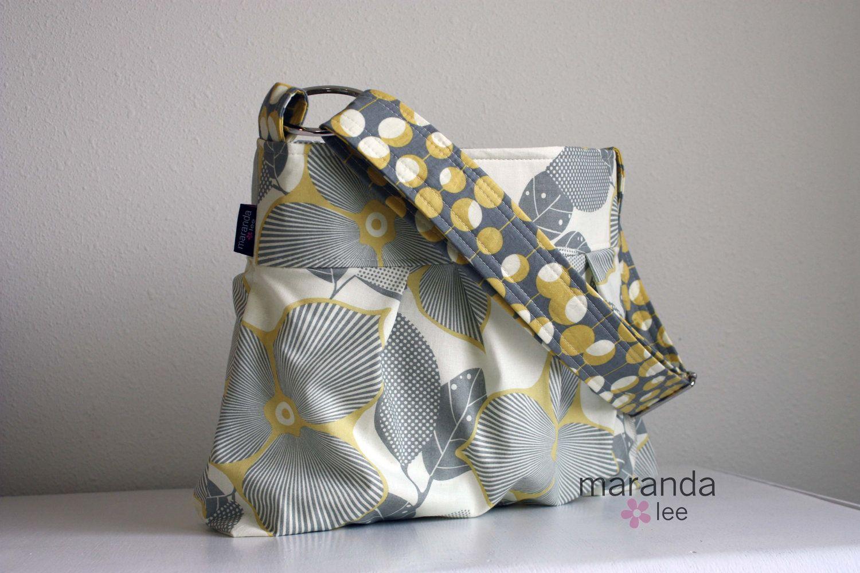 Emma Medium Messenger Bag - Purse - Handbag in Optic Blossom 3 Pocket-  Adjustable Strap. $68.00, via Etsy.
