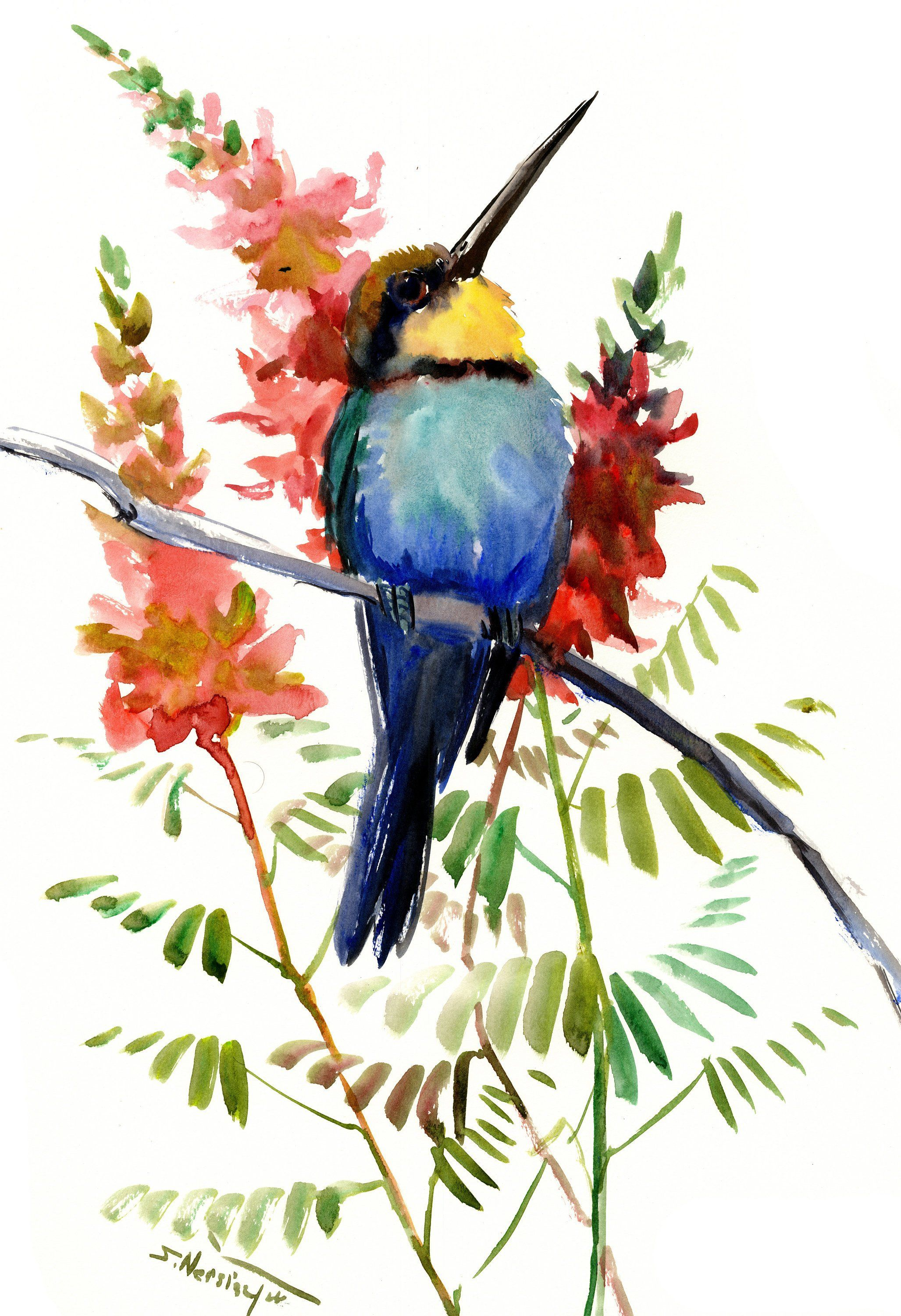 Birds and Flowers, Bee Eater, bird art, bird painting ...