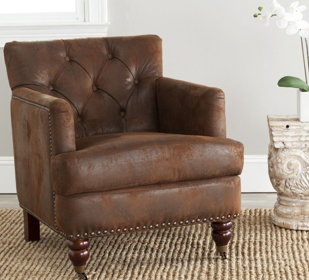 Brown Tufted Club Chair Leather Wood Square Arms Low Back