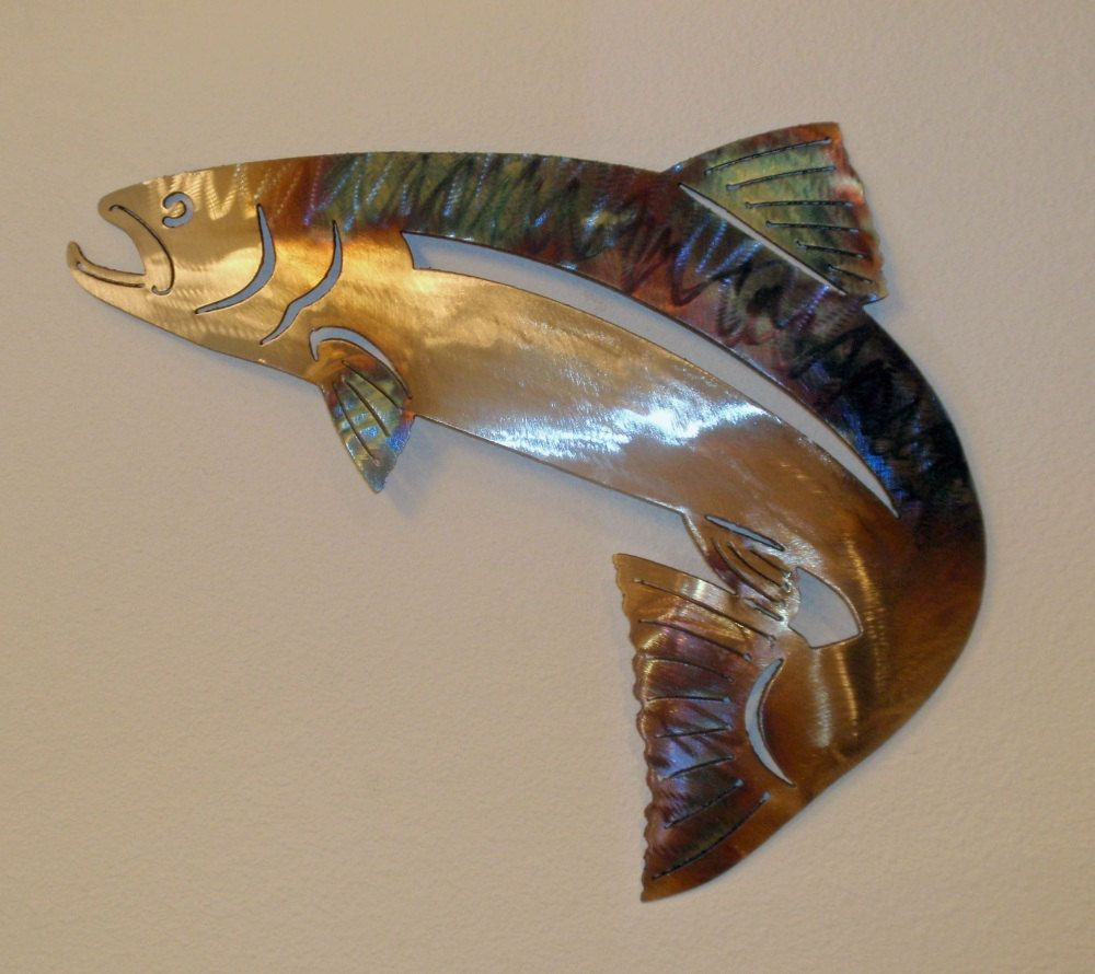 Salmon Wall Art Stainless Steel Fisk