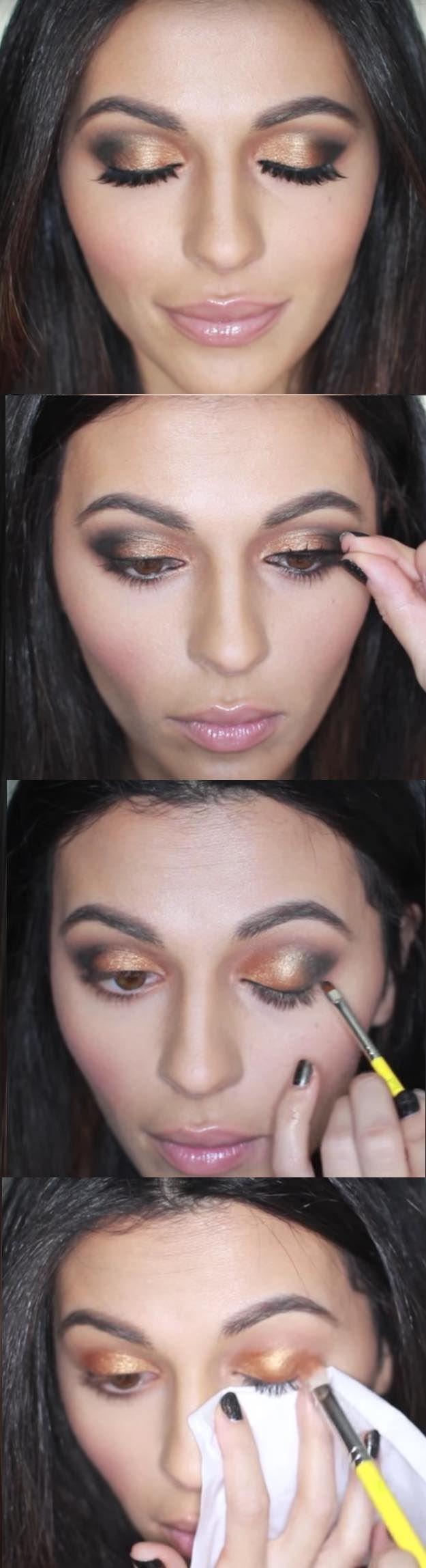 31 Makeup Tutorials for Brown Eyes Gold Smokey Eye
