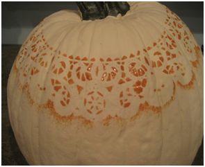 stenciled pumpkin.