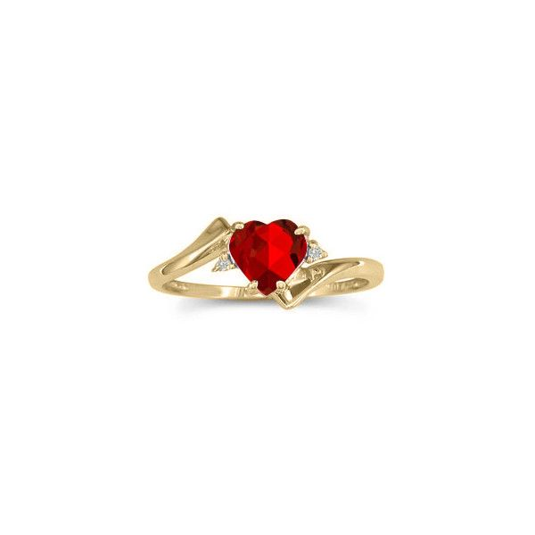 Diamond Heart Shaped Red Ruby Birthstone Yellow Gold Ring
