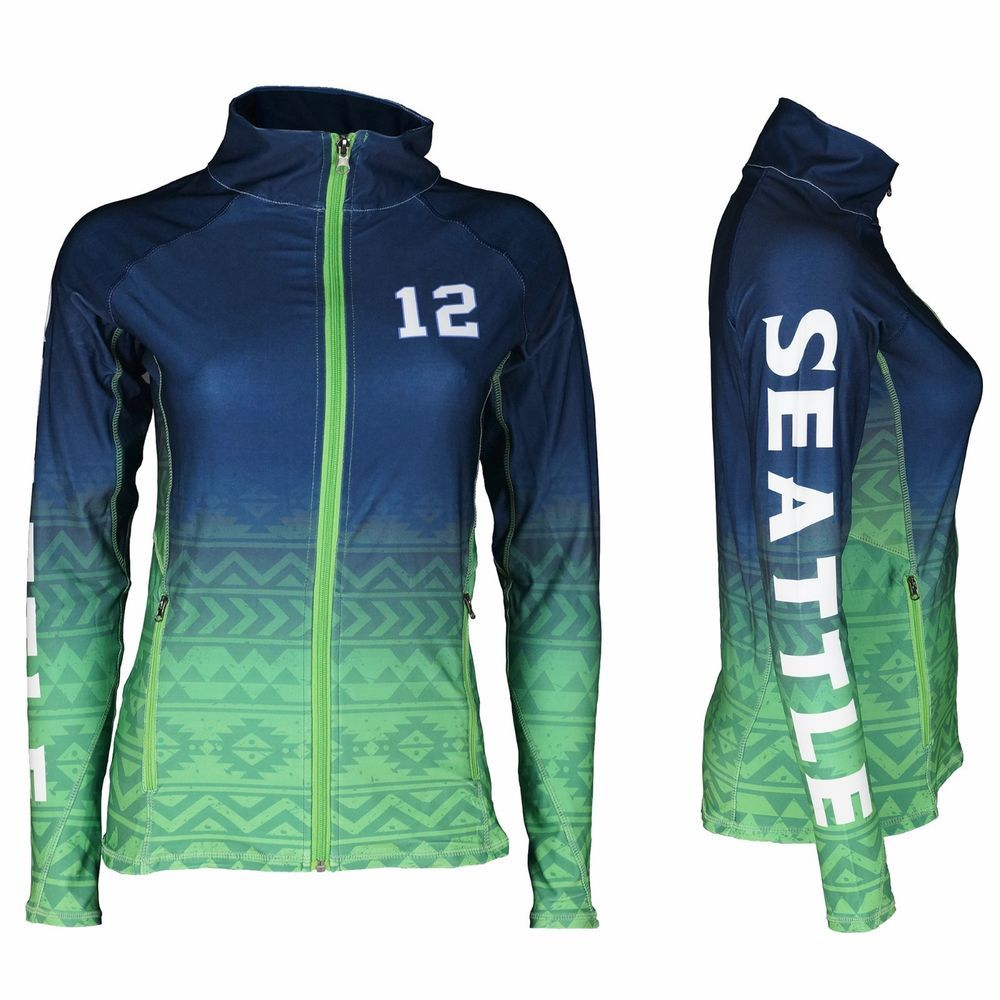 d22f3f36ce62d Seattle Seahawks 12th Fan Woman's Seattle Football Sublimation Jacket  #Zone12Sports #TrackJacket