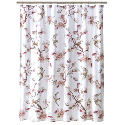 Target Home BOTANICAL BIRD Pink Fabric Shower Curtain