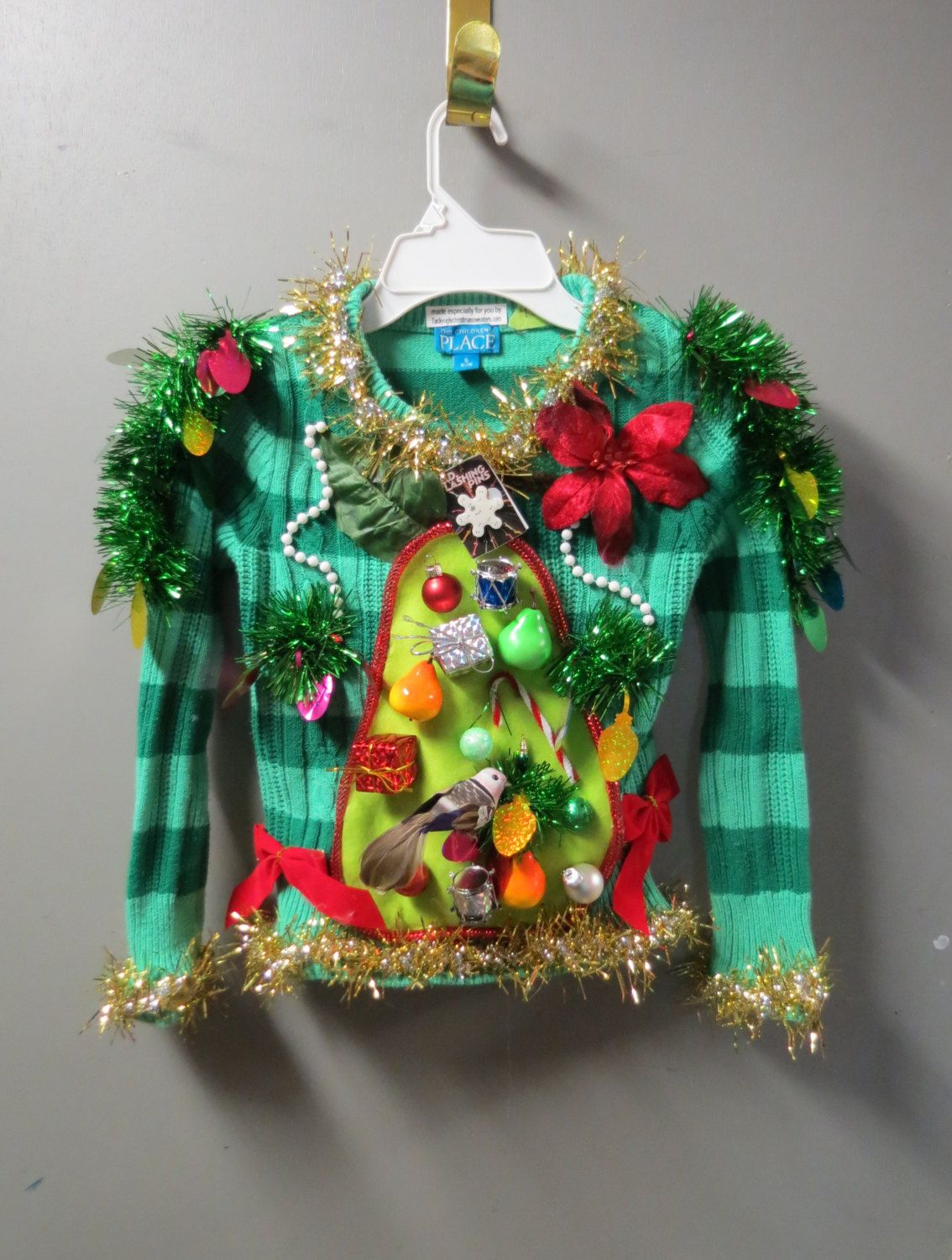 Kids Girls Adorable Ugly Christmas Sweater a Partridge in a Pear ...