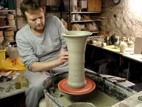 ▶ Ingleton Pottery Making a tall clay pottery flared trumpet vase on the potters wheel demo how to - YouTube