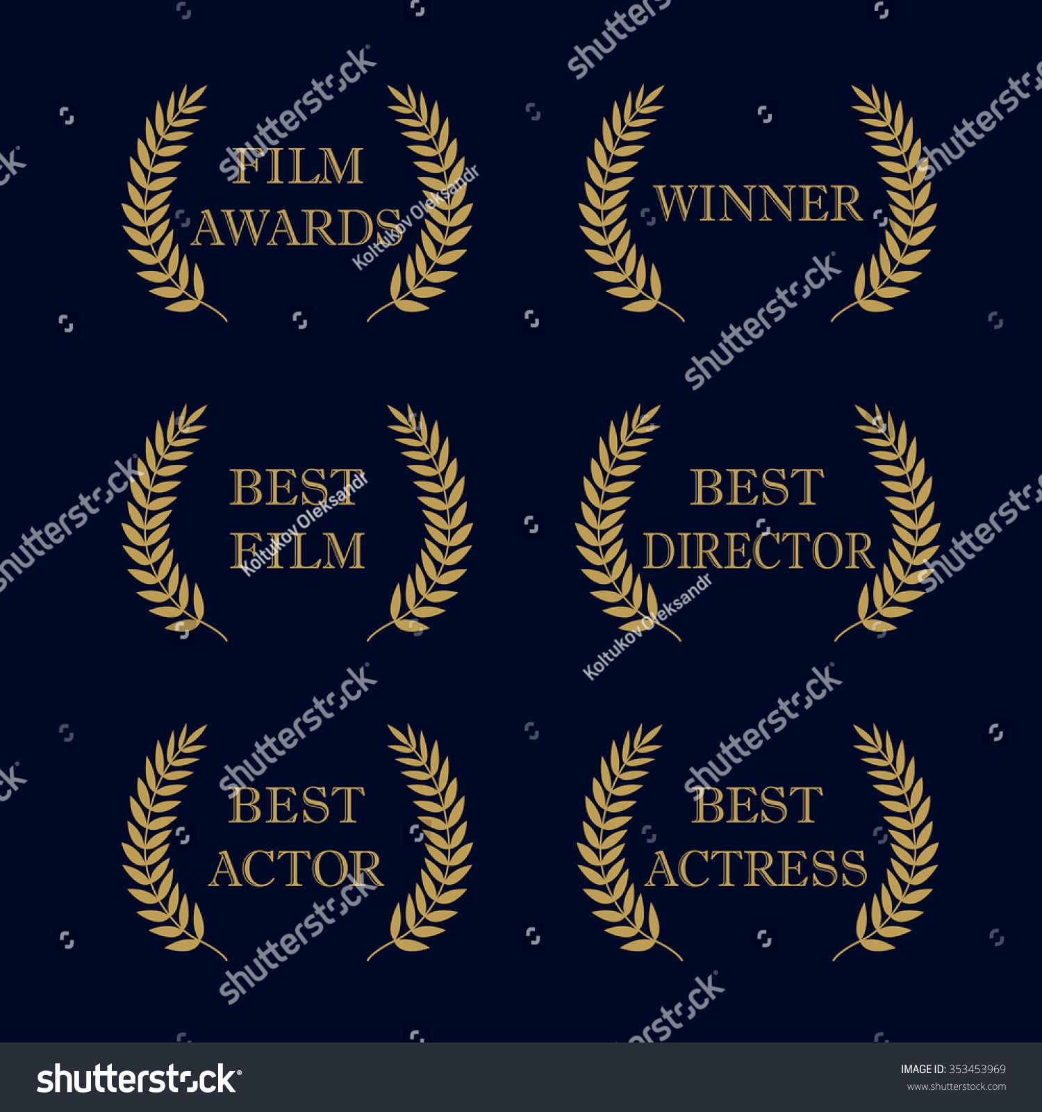 Film Awards And Best Nominee Gold Award Wreaths On Dark Background Film Awards Logo Best Award Vector Award Logo Winner Logo Fi Film Awards Film Logo Film