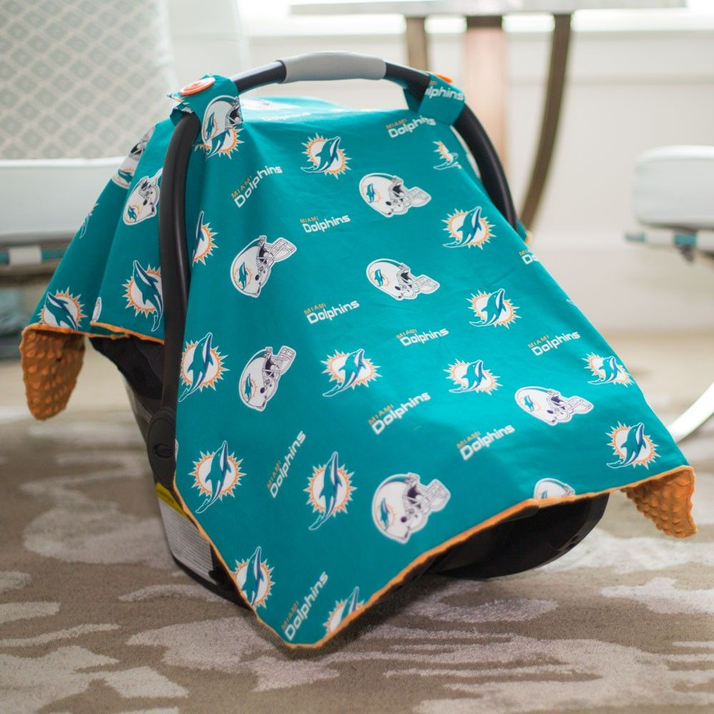 best service aa44a 0050e Miami Dolphins Baby Gear: Infant Carseat Canopy Cover, NFL ...