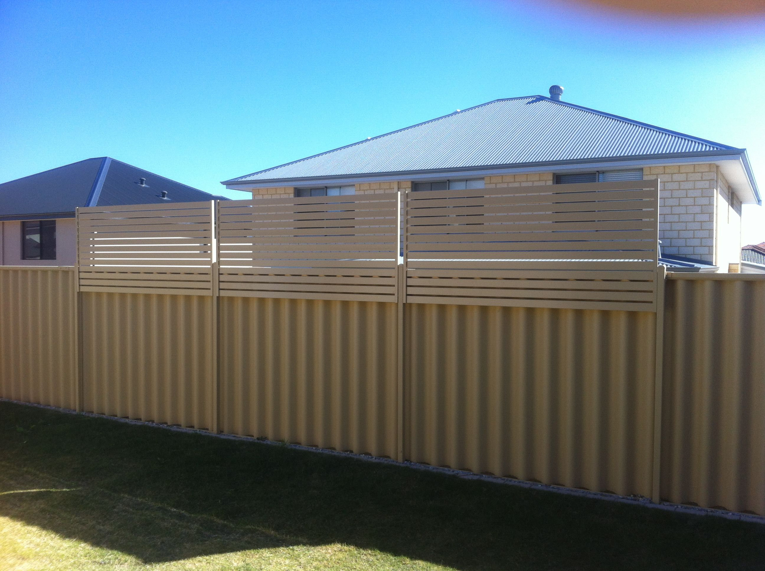 Colorbond Fence With Wood Privacy Screen