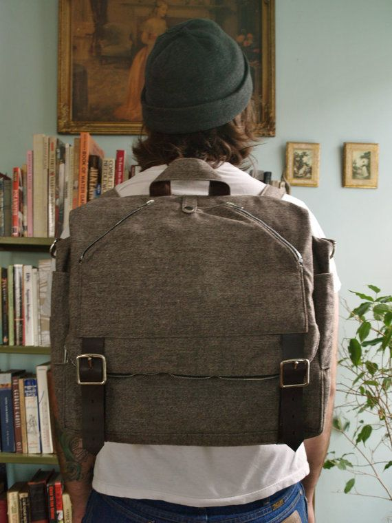 Mens womens convertible tweed wool backpack messenger computer bag with leather straps
