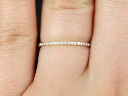 14kt Rose Gold Ultra Thin Almost All Around Diamond Eternity Band 46500 USD