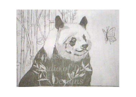 Printable Baby Panda blank card, pencil drawing, Size 3.5x5 #babypandas