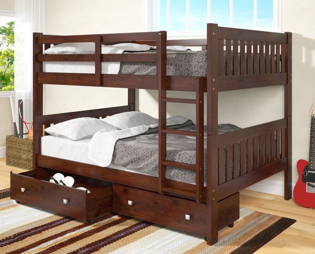 Solid Wood Espresso Full Over Full Bunk Bed With Storage Drawers Dream Rooms Furniture Bunk Bed With Trundle Full Size Bunk Beds Full Bunk Beds Solid wood bunk beds twin over full