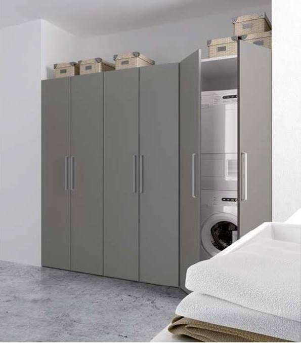 armadio lavanderia con ante   Armadio lavatrice, Armadio ...