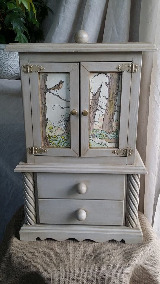129 Handcrafted Large Wooden Jewelry Armoire OOAK Upcycled