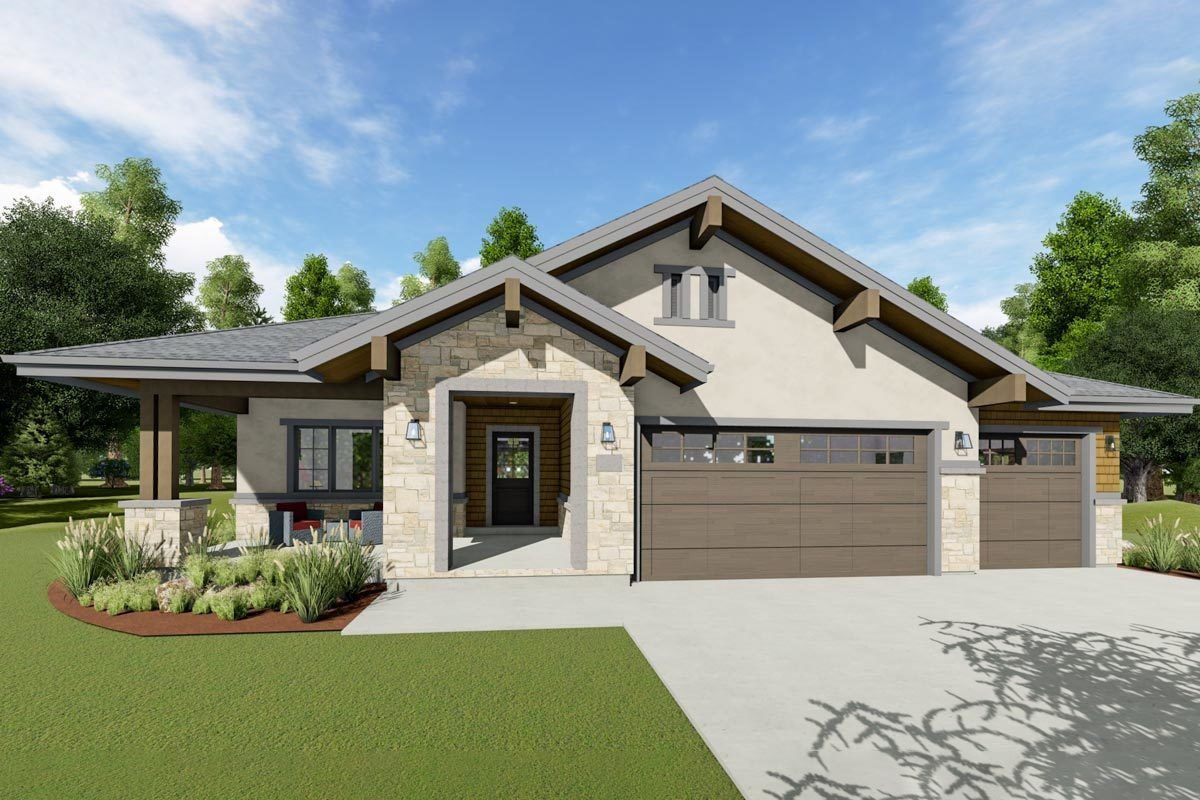 Plan 64493SC Exclusive OneLevel House Plan with Split