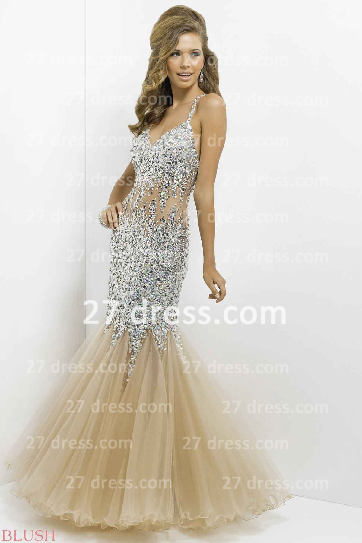 Gorgeous open back spaghetti straps prom dress with beadings