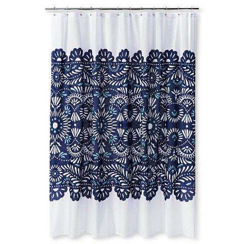 Shower Curtain Sabrina Soto Geometric White Paradise Teal Turquoise Navy Blue Shower Curtain Blue Shower Curtains Lace Shower Curtains