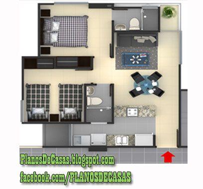 Plano de departamento peque o 30 m2 planos de casas for Departamentos pequenos planos