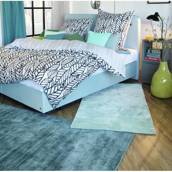 Handgefertigter Teppich Shine in Aqua Blau
