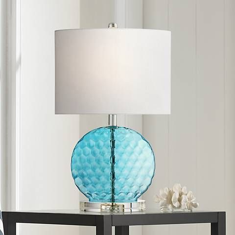 blue glass lamp. Nancy Blue Glass Table Lamp M