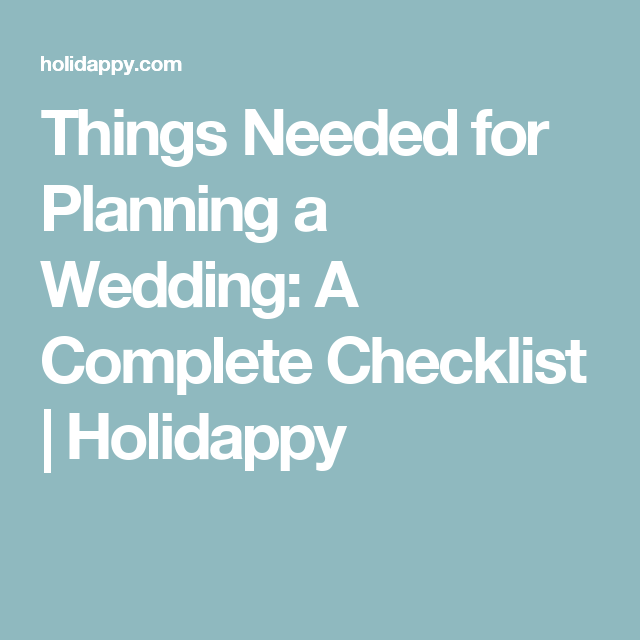 things needed for a wedding