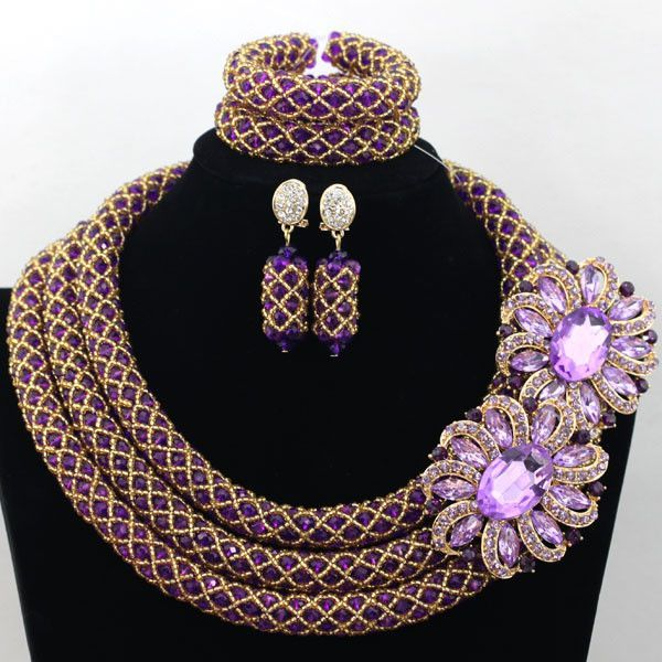 04d7957b9 Chunky Gold African Crystal Beads Women Necklace Bridal Fashion Jewelry