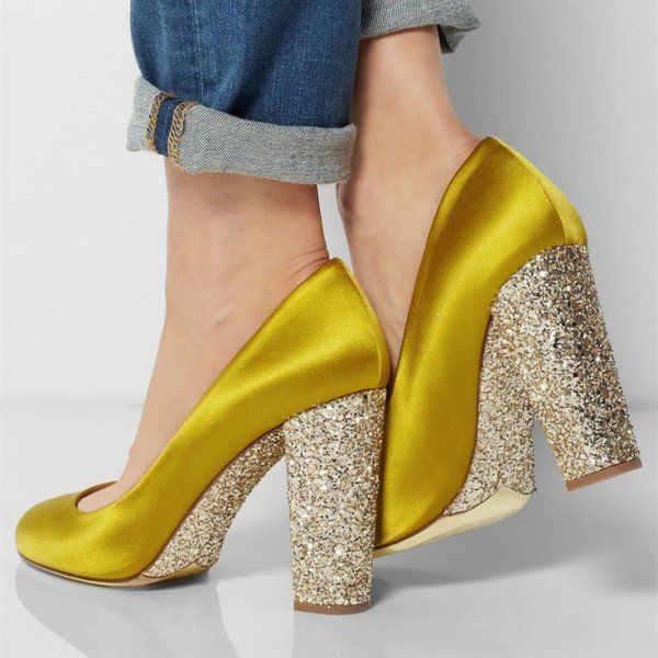 Gold Sparkly Heels Glitter Satin Chunky Heel Pumps for Ladies ...