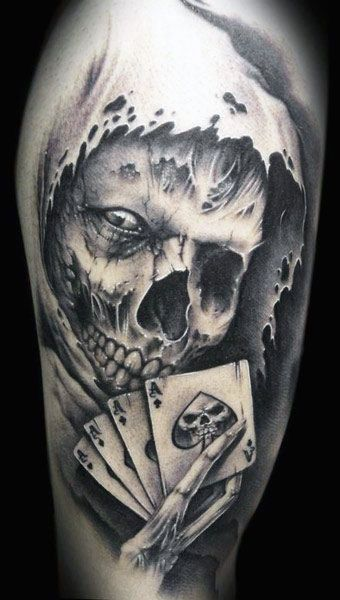 The Ultimate 145 Best Skull Tattoos In 2020 Skull Sleeve Tattoos Skull Tattoo Design Playing Card Tattoos